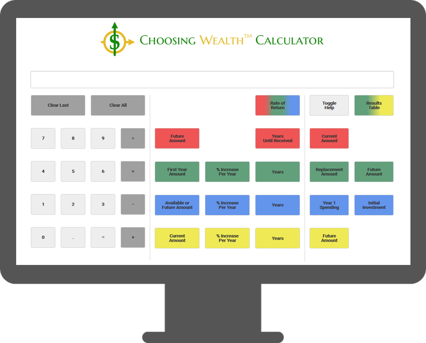 Image of the Choosing Wealth™ Calculator screen simulation