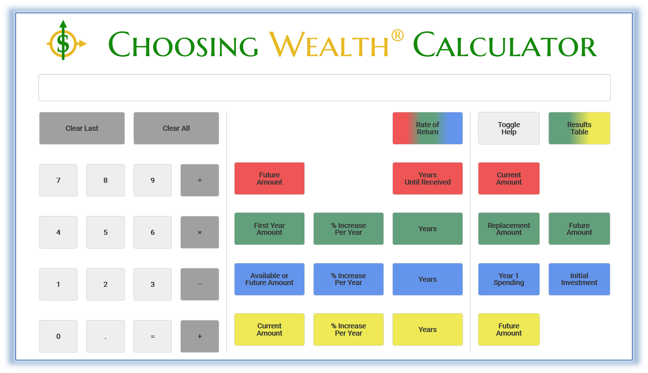 Image of the Choosing Wealth® Calculator screen simulation