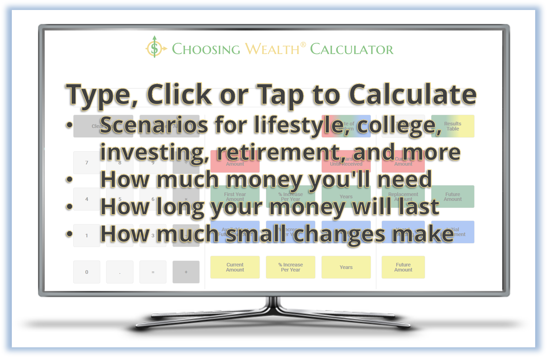 Choosing Wealth® Calculator face with instructional bullets